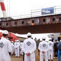 Церемония закладки монет на лайнере MSC World Europa