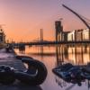 Дублин. Река Лиффи на закате. Мост Сэмюэла Беккета