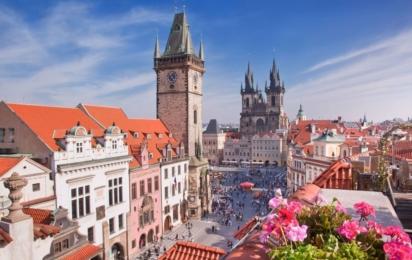 Чехия. Прага. Пражский собор и Часовая башня