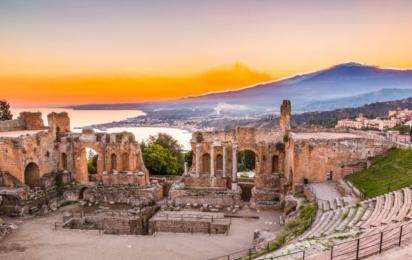 Таормина. Панорама с видом на Греческий театр
