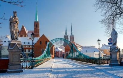 Вроцлав. Тумский мост зимой