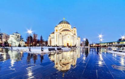 Белград. Храм Святого Саввы зимой